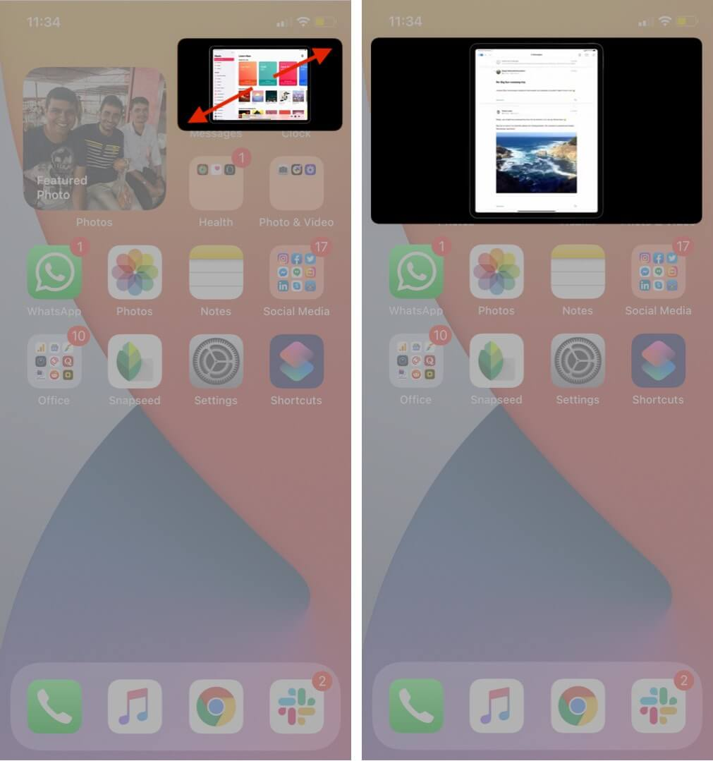 resize video playing in pip mode on iphone