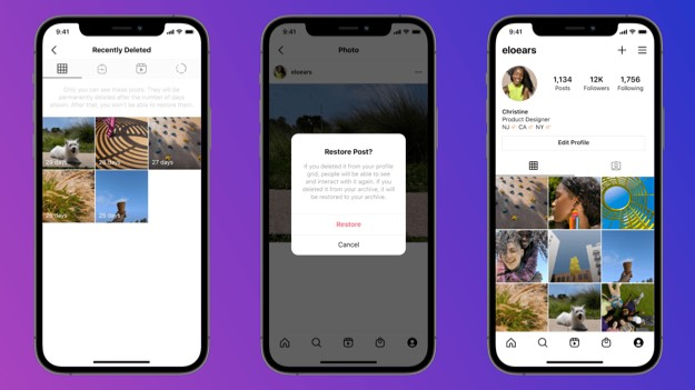 resore deleted Instagram posts on iPhone