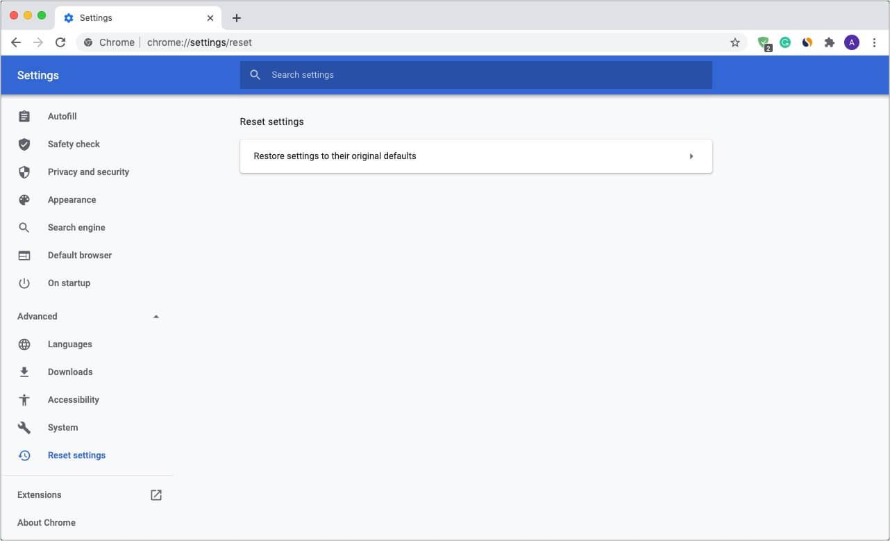 Restore Chrome to default settings