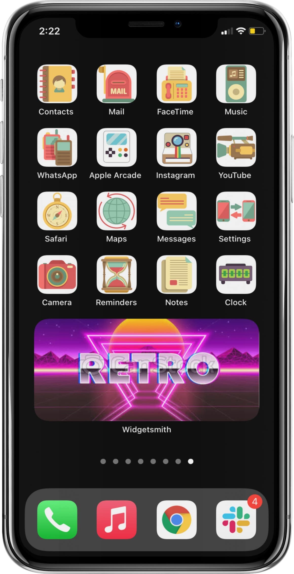 retro aesthetic app icon set for iphone runnng ios 14