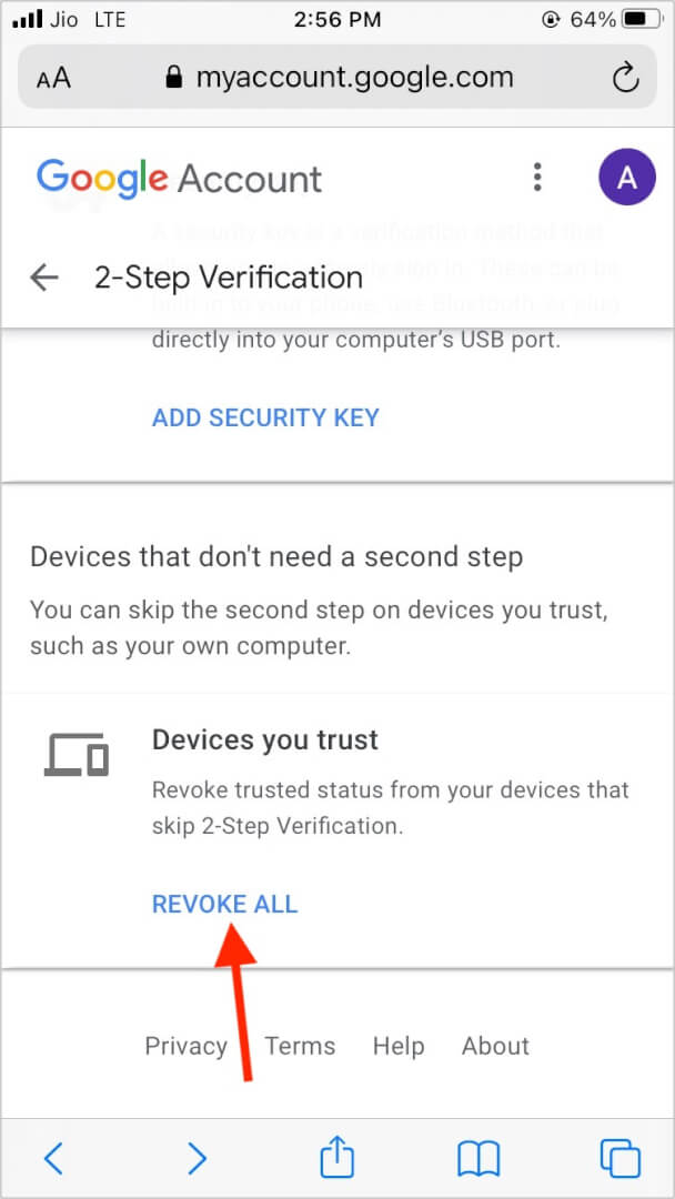 Revoke trusted status of all devices