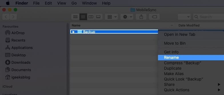 Right Click on Backup and Select Rename in Finder on Mac