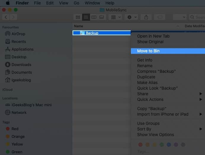 Right Click on Backup Folder and Select Move to Bin on Mac