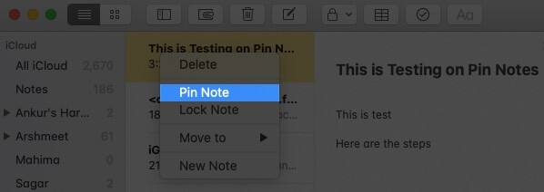 Right Click on Note and Click on Pin Note in Notes App on Mac