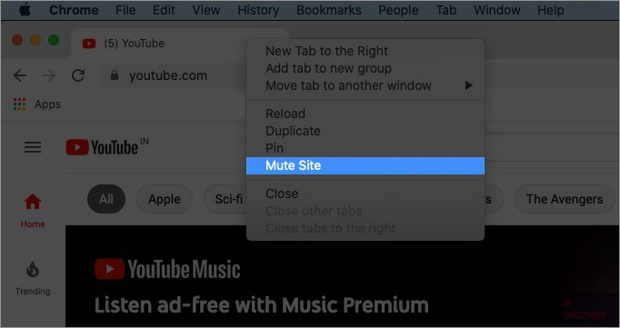 right click on title bar and select mute site in chrome
