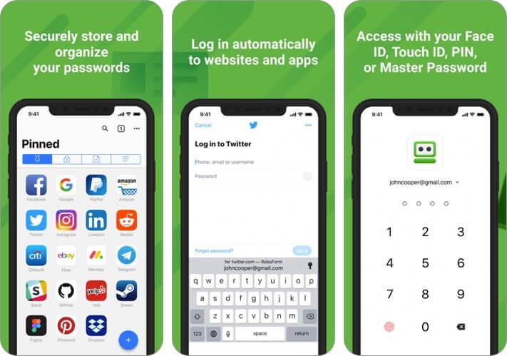 roboform password manager iphone app screenshot