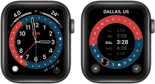 Rotate Digital Crown from GMT Watch Face to Change City