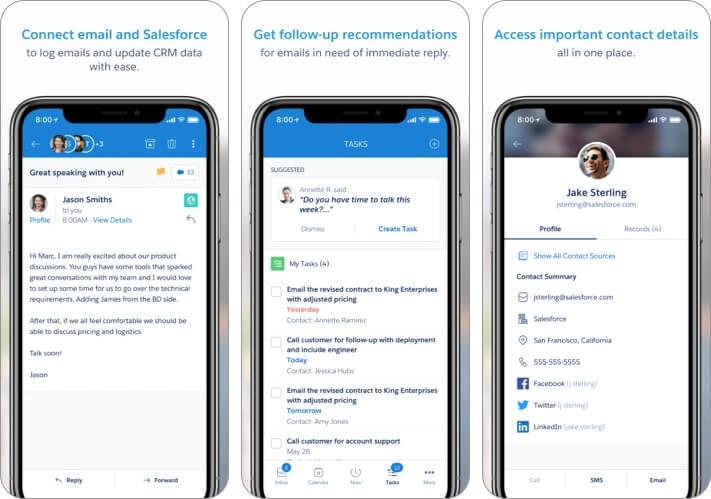 Salesforce Inbox iPhone and iPad CRM App Screenshot