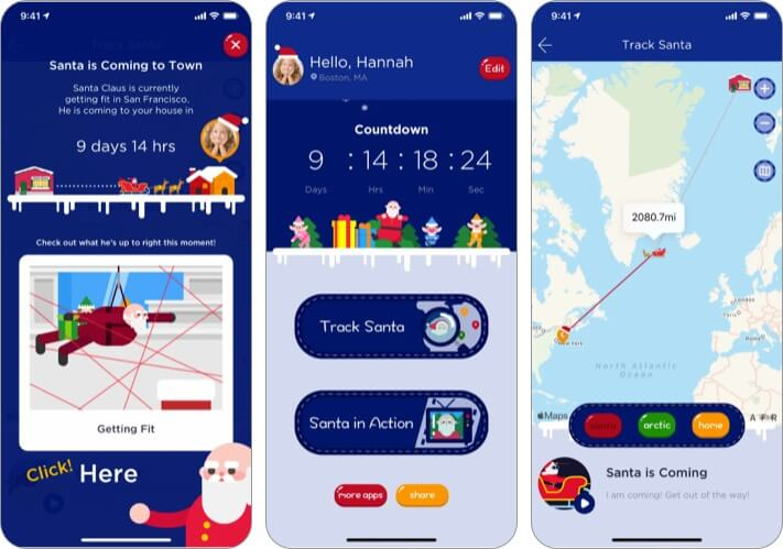 Santa Tracker Christmas App for iPhone and iPad