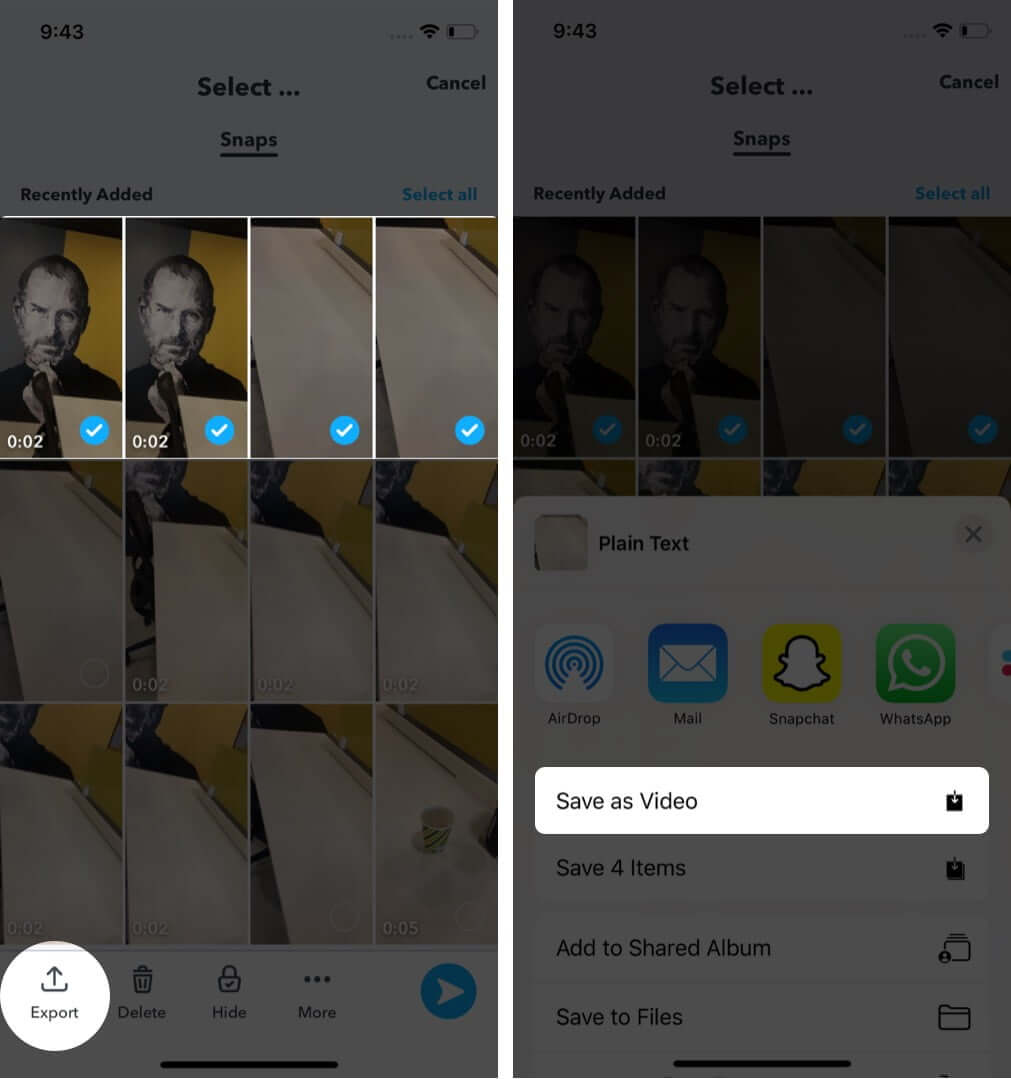 save snaps from memories to photos app on iphone