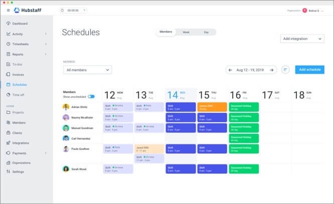 schedule projects and tasks for employee using hubstaff
