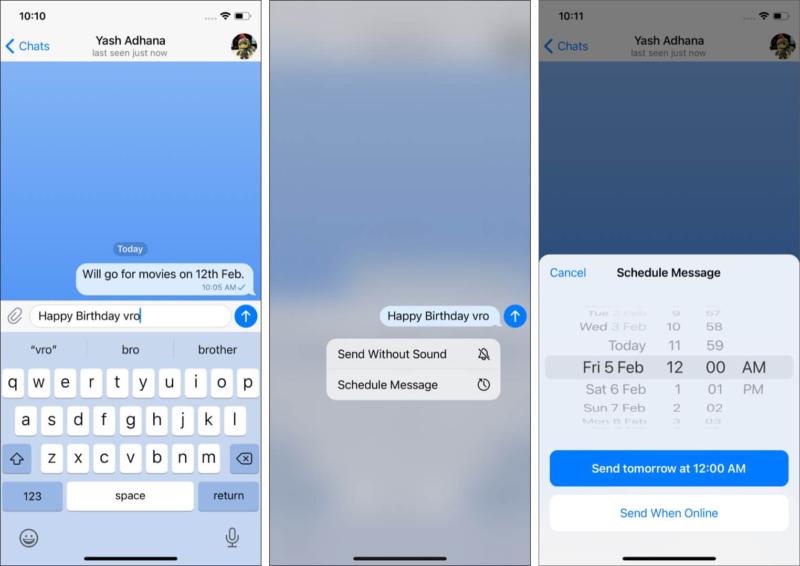 Schedule Telegram messages
