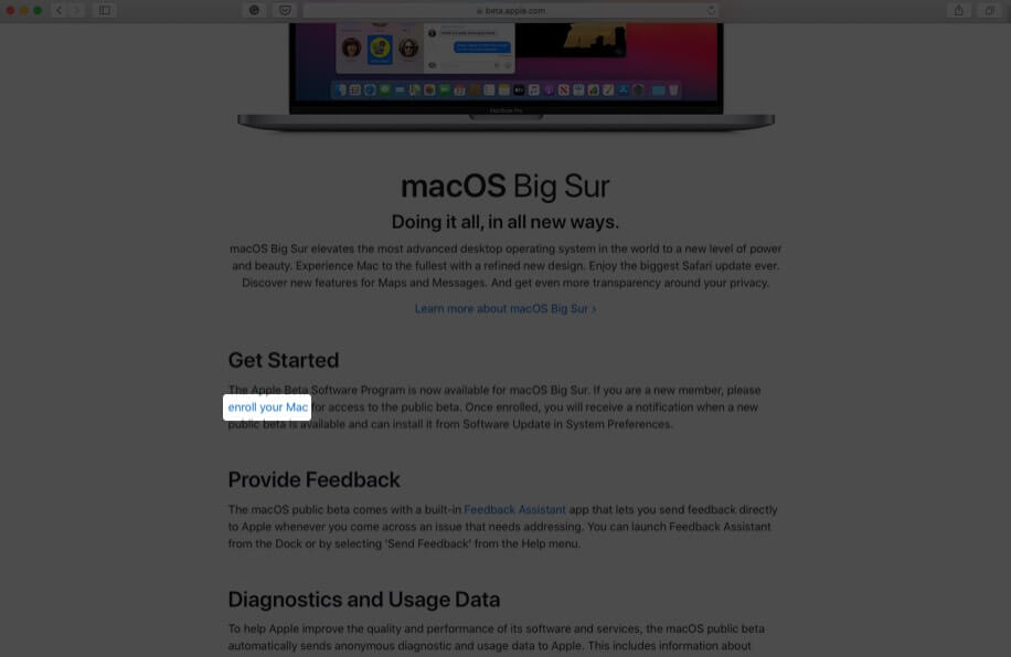 scroll down and click on enroll your mac