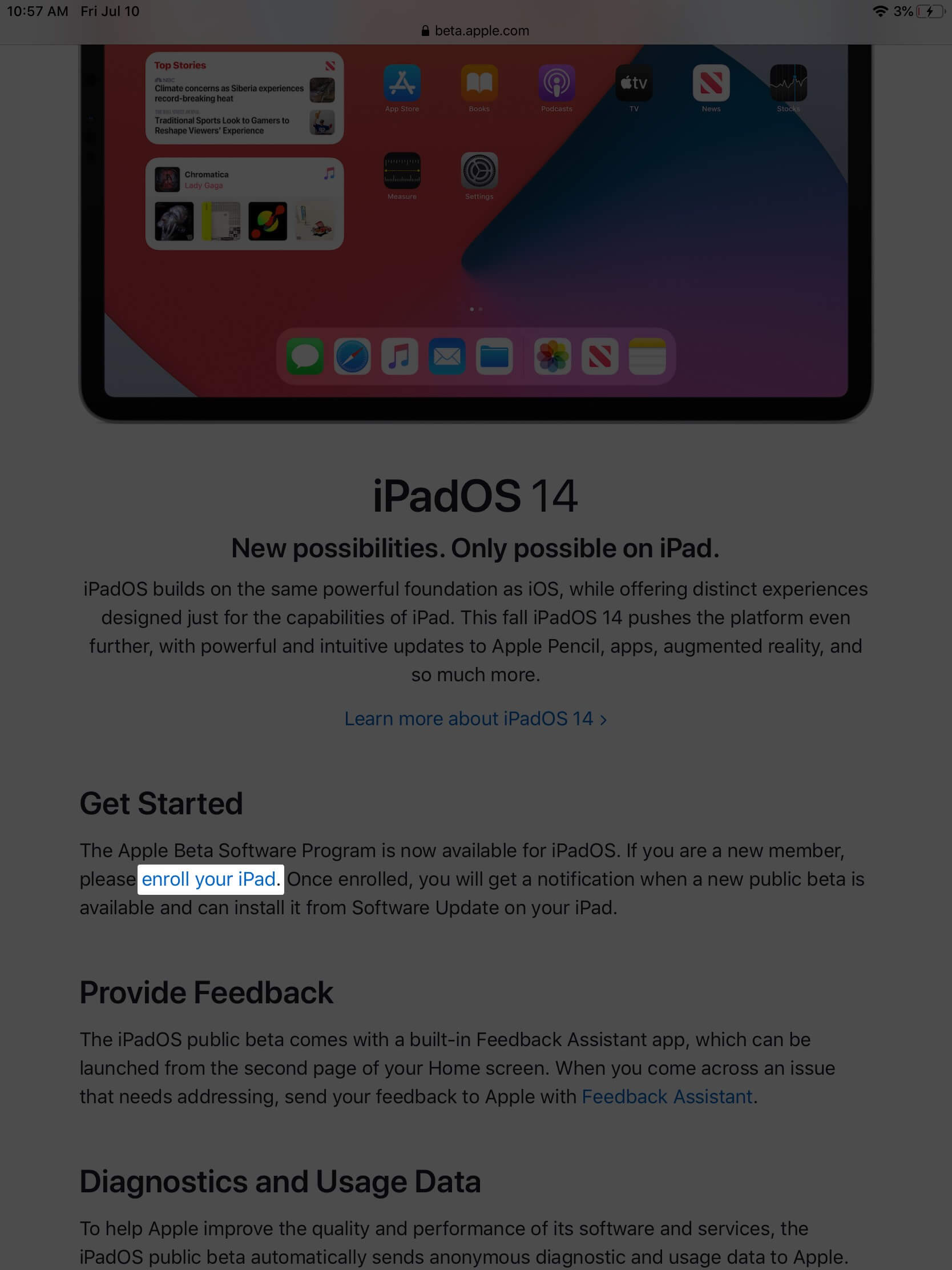 scroll down and tap on enroll your ipad