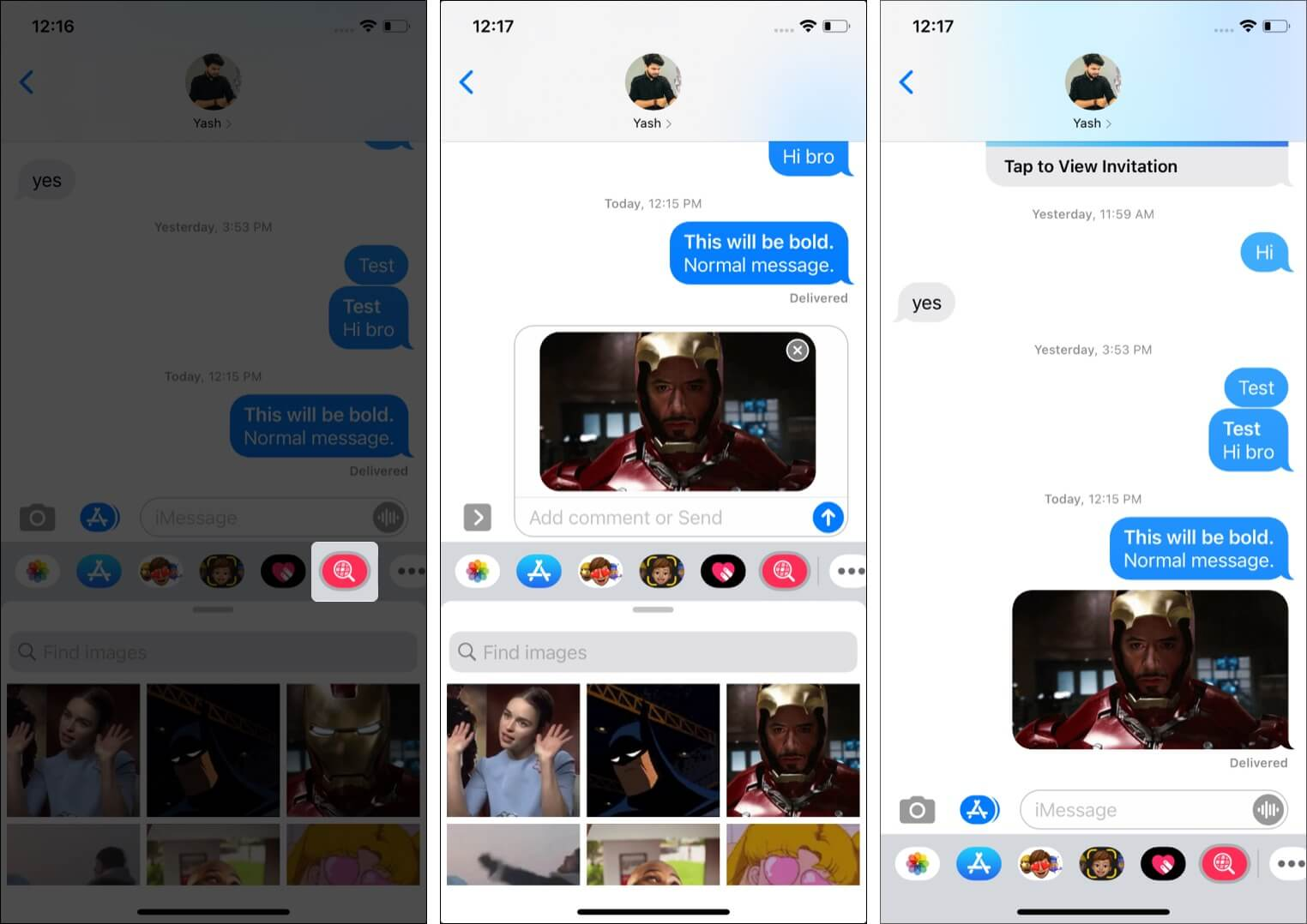 Search and send GIFs directly from iMessage chat screen