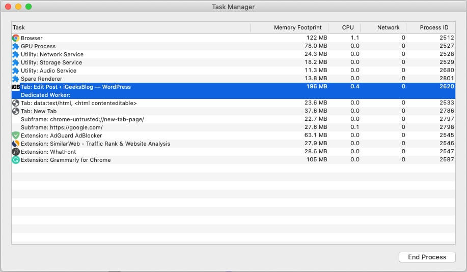 Select an option and click End Process in Chrome Task Manager if needed