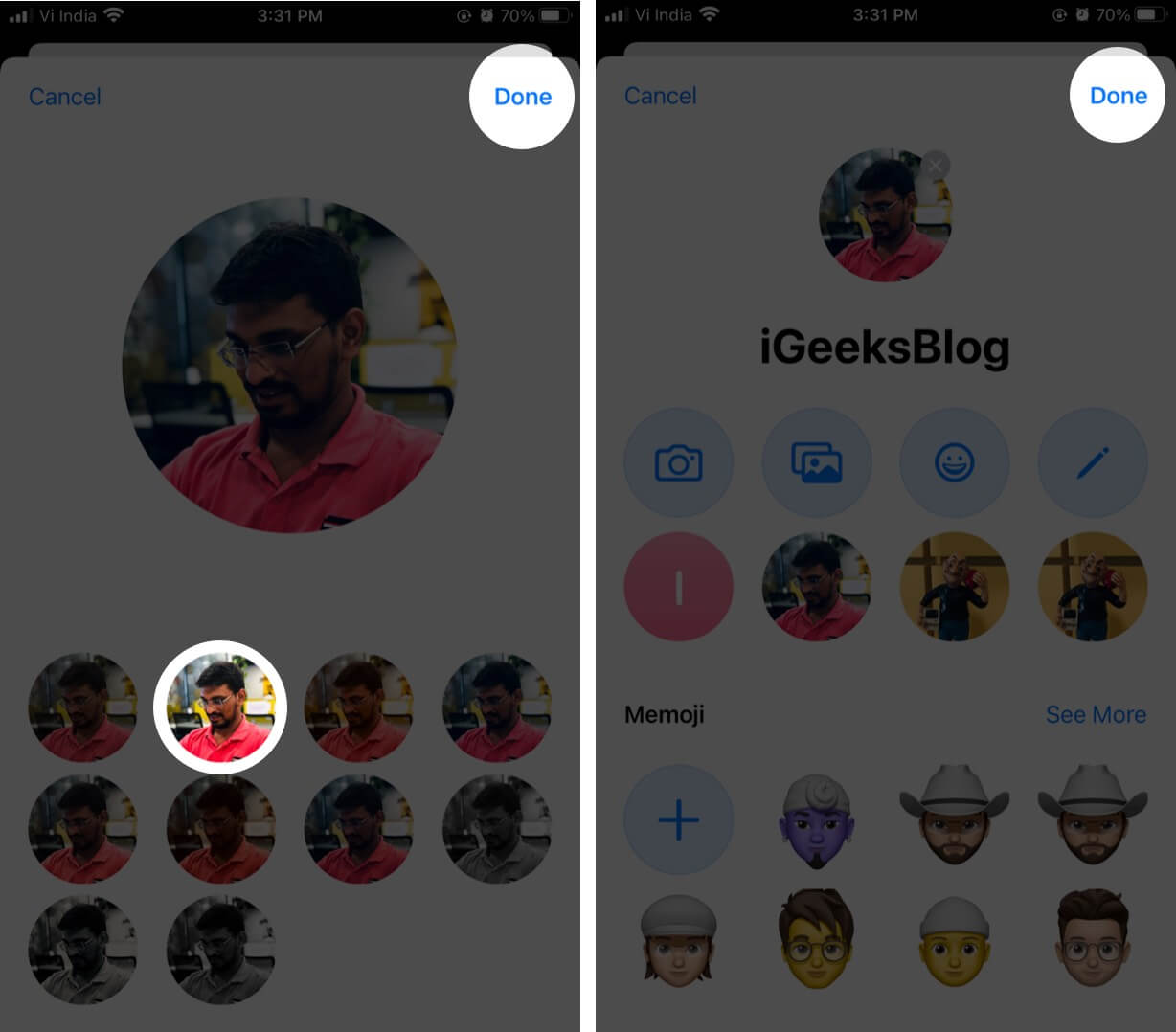 Select Background and Tap on Done to Use Photo for iMessage Profile on iPhone