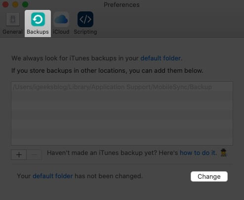 Select Backups tap and Click on Change in iPhone Backup Extractor Preferences on Mac