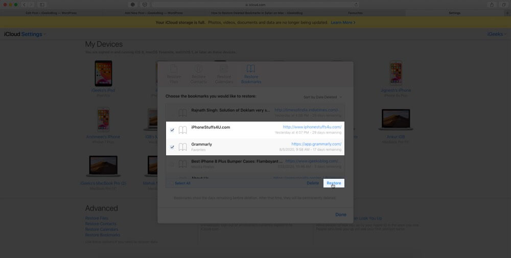 select bookmarks and click on restore to recover deleted safari bookmarks using icloud account