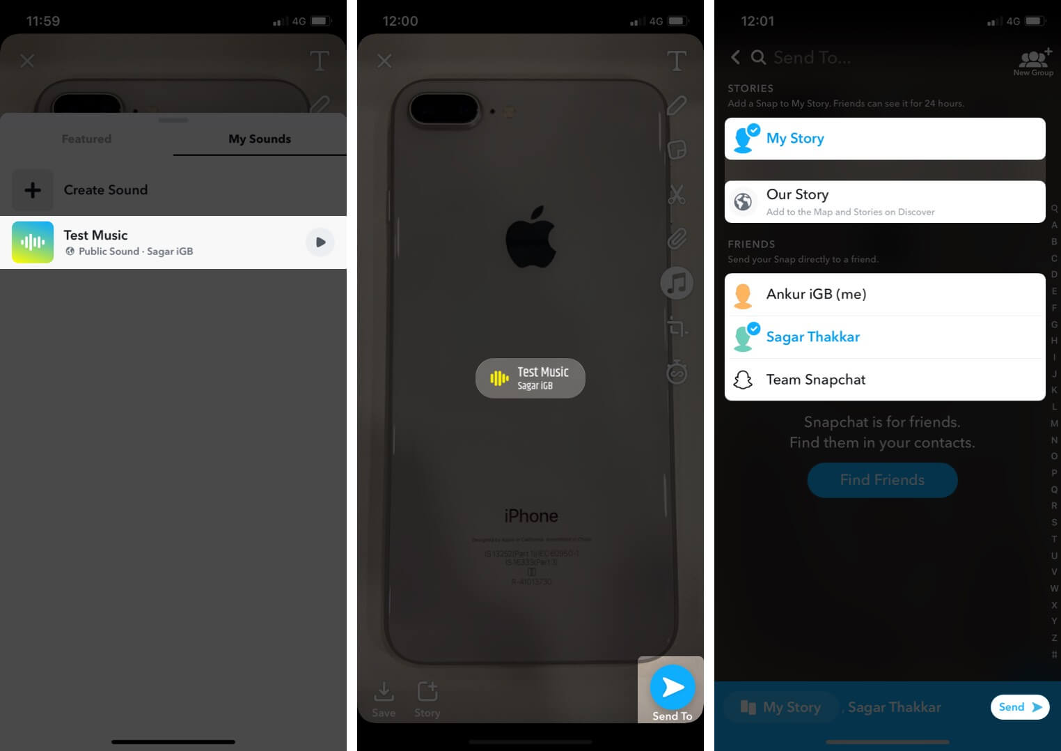 Select Created Sound and Tap on Send to Share it on Snapchat