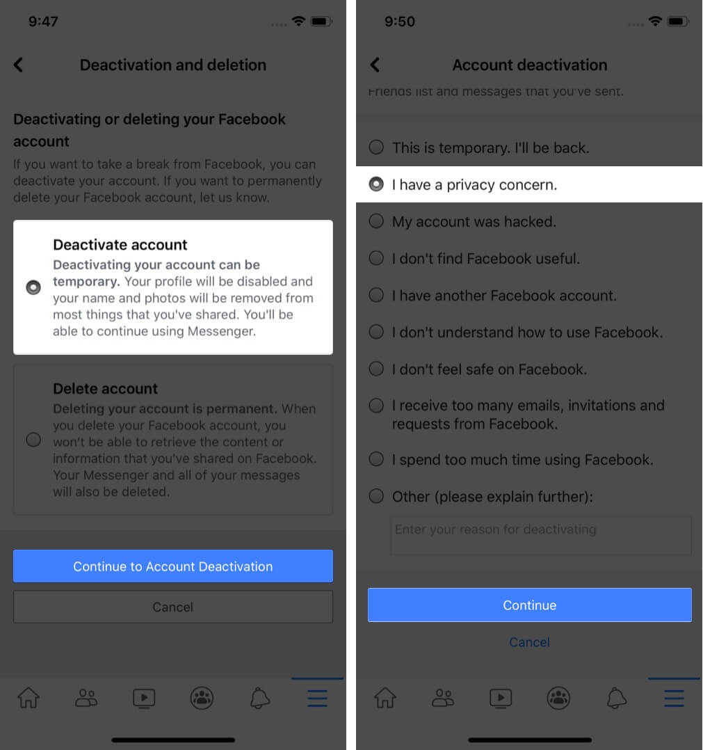 select deactivate account choose reason and tap on continue in facebook app