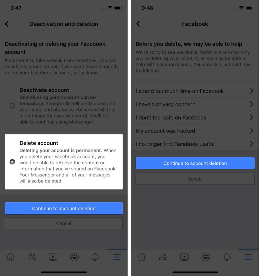 select delete account and tap on continue to account deletion in facebook profile