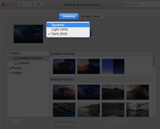 Select Desktop Tab and Change Preferences on Mac