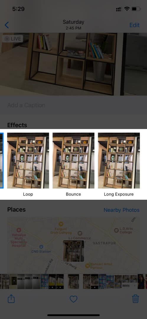 Select Effect to Convert Live Photo on iPhone