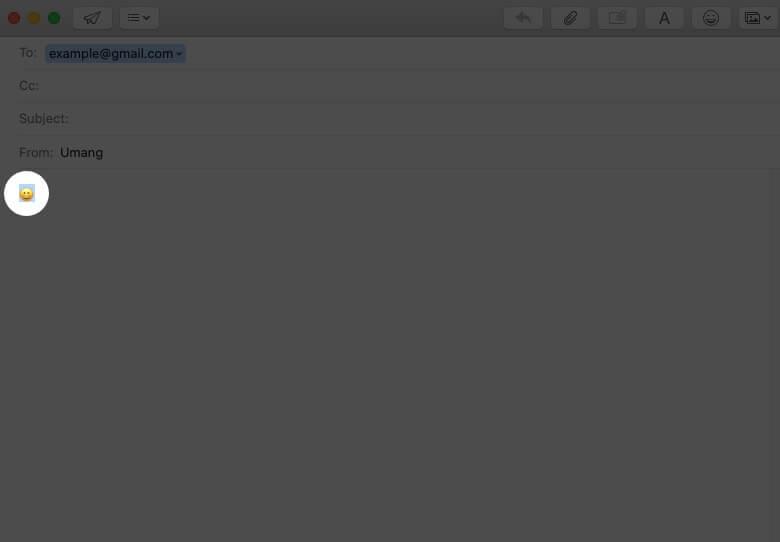 select emoji in email field on mac