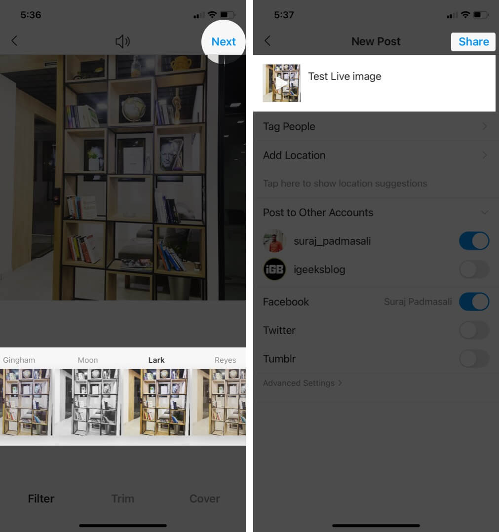 Select Filter Tap on Next and Then Tap on Share on iPhone