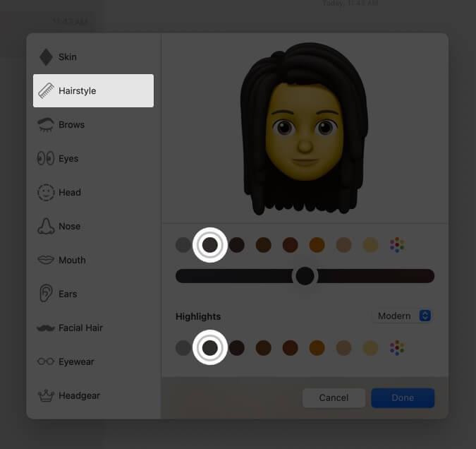 select hair style for memoji on mac