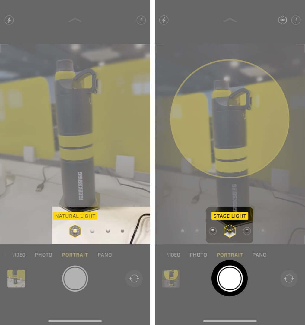 select lighting effect and tap on shutter to take portrait mode photos on iphone