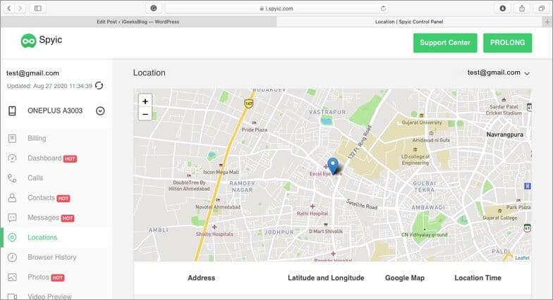 select location from left sidebar in spyic tracking software