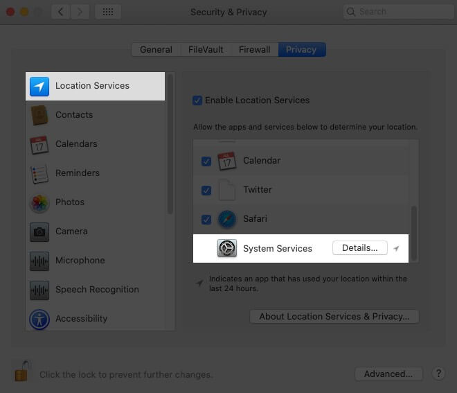 Select Location Services and then Click on Details Next to System Services on Mac