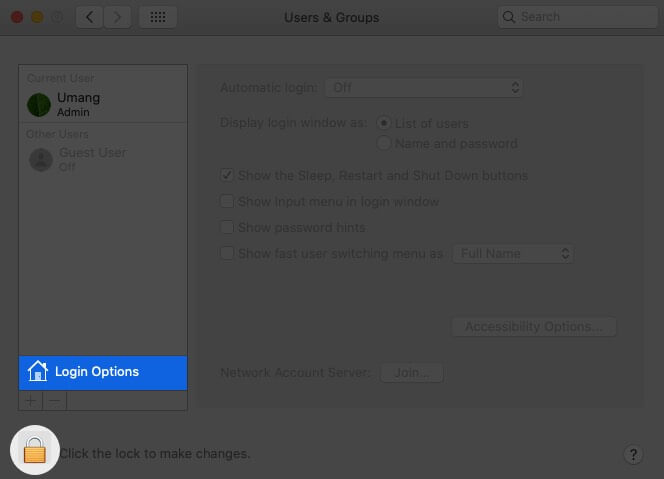 Select Login Items and Click on Lock Icon in Users & Groups on Mac