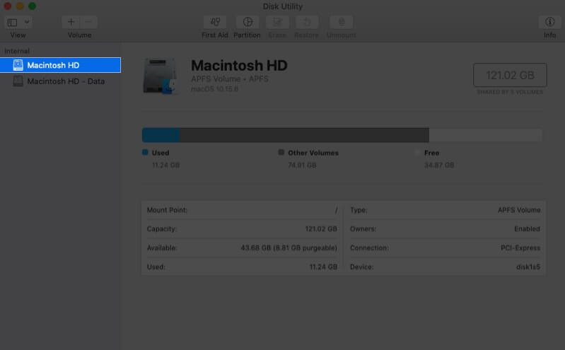 Select Macintosh HD from Left Sidebar in Disk Utility on Mac