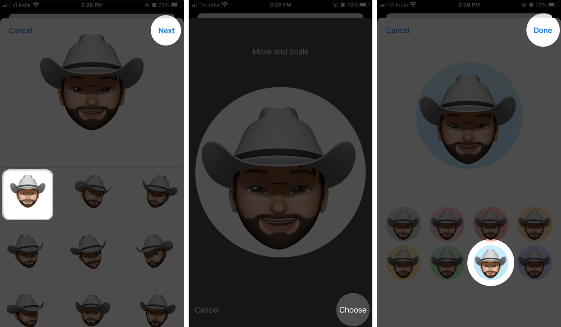Select Memoji Tap on Next Adjust Frame Tap on Choose and Then Select Background and Tap on Done
