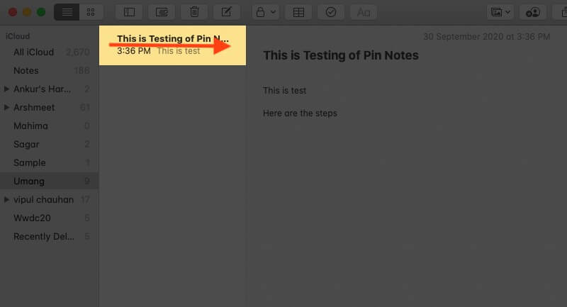 Select Note and Swipe Right with Two Fingers on Mac Trackpad on Note in Note App