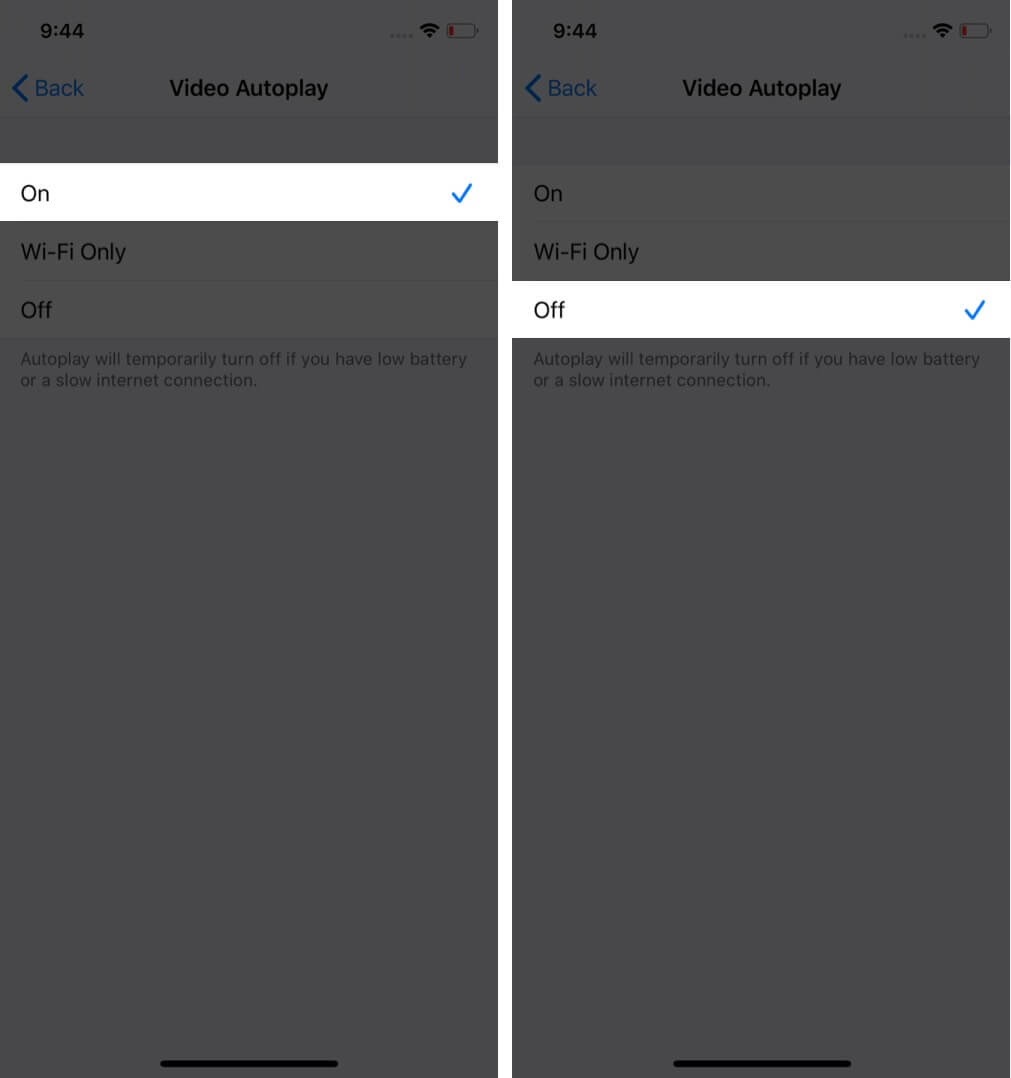 select off to stop video autoplay in ios app store
