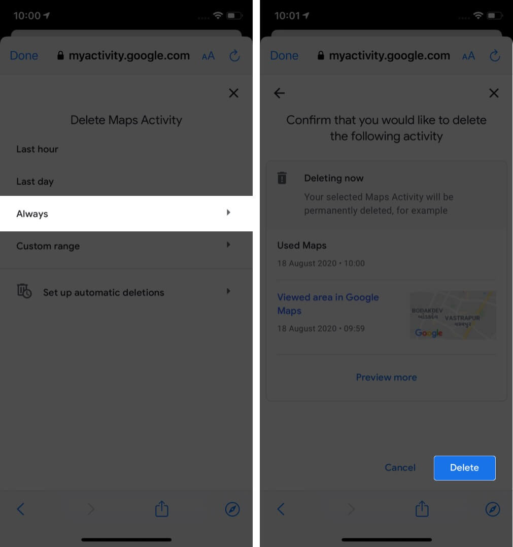 select option and tap on delete to remove google maps search history on iphone
