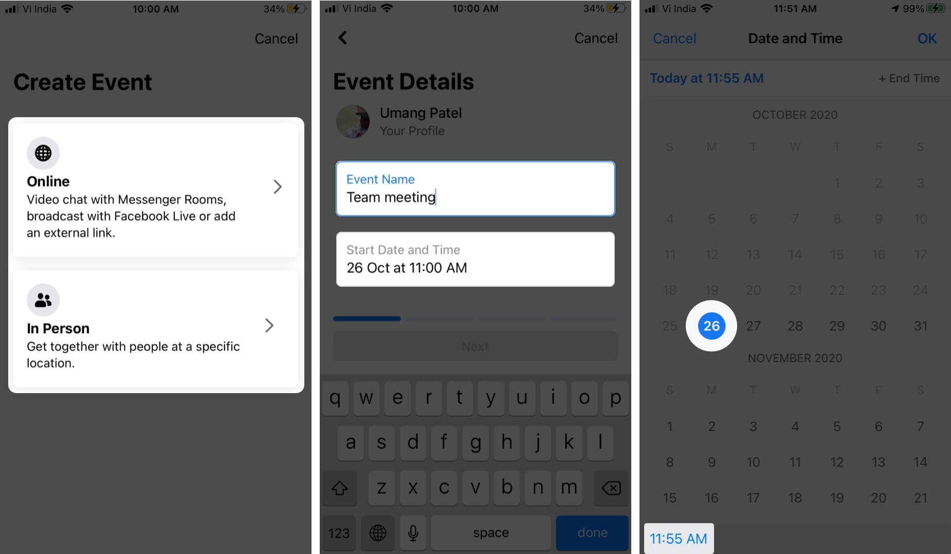 Select Option Type Event Name and Tap on Date to Select Date and Then Tap on Time