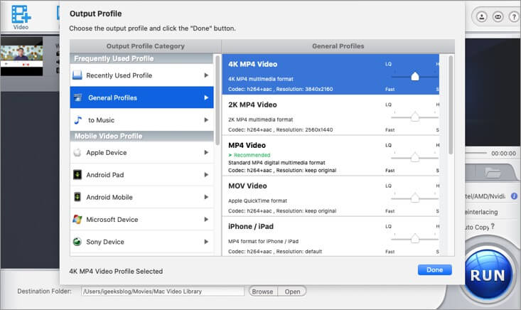 Select Output Profile for Video in WinX HD Video Converter on Mac