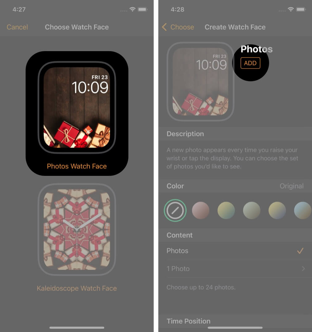 Select Photo Watch Face and Then Tap on Add on iPhone