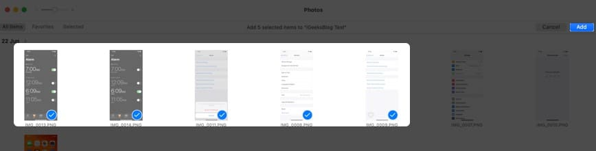 select photos and click on add on mac