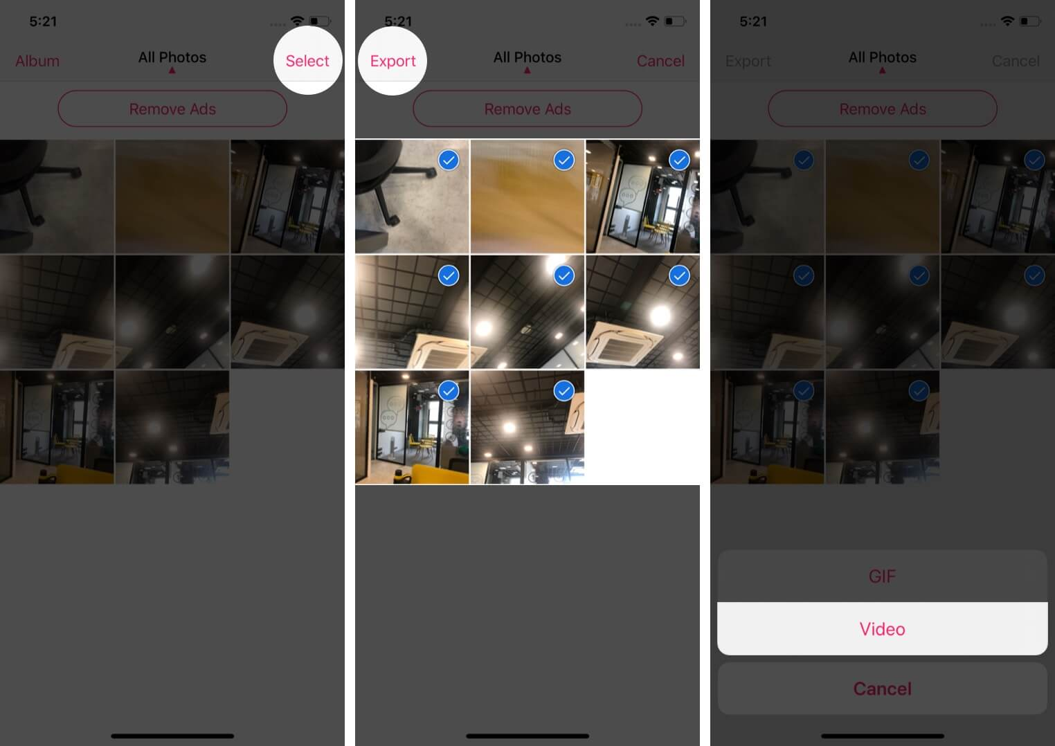 select photos tap on export and choose video to turn live photos into video using third-party app on iphone