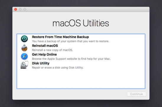 Select Preferred Option in macOS Recovery Screen