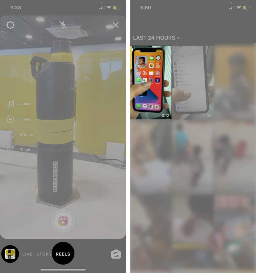 select reels tap on gallery and then choose video in instagram