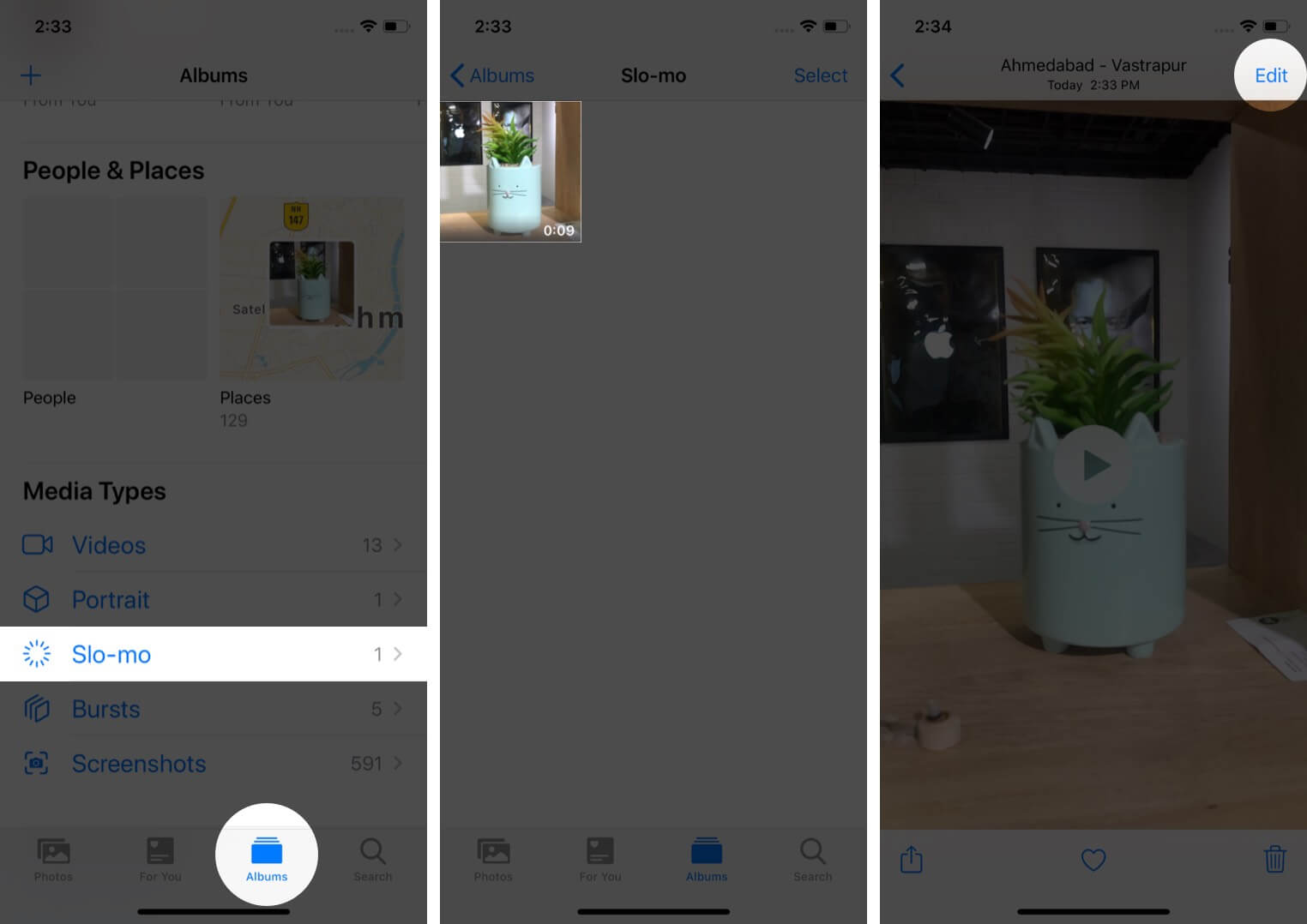 select slo-mo in albums tab tap on video and then tap on edit in photos app on iphone