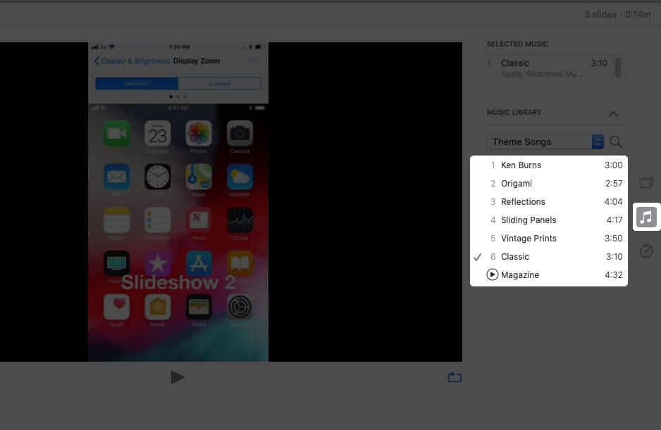 Select Song to Add Music to Slidshow in Photos App on Mac