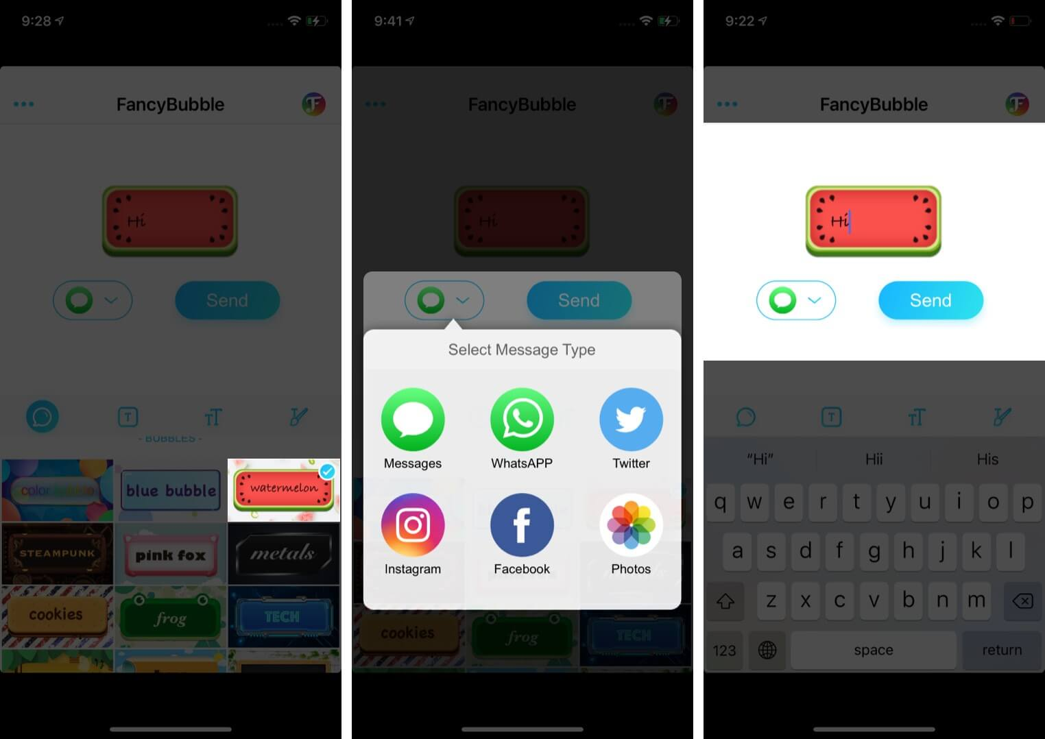 Select Theme Choose App Type Message and Then Tap on Send on iPhone